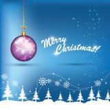 Globo de la púrpura de la Navidad Imágenes de archivo libres de regalías
