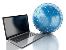 globo de la red 3d con el ordenador portátil Fotografía de archivo libre de regalías