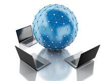 globo de la red 3d con los ordenadores portátiles Imágenes de archivo libres de regalías