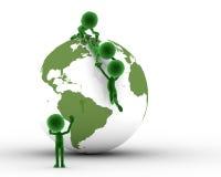 Globo de la tierra, ayuda de la gente stock de ilustración
