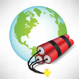 Globo de la tierra con dinamita Imagen de archivo libre de regalías