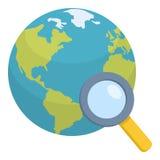 Globo de la tierra con el icono plano de la lupa Imagen de archivo libre de regalías