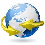 Globo de la tierra con las flechas Imagen de archivo libre de regalías