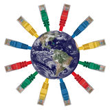 Globo de la tierra con los cables coloreados de la red Imagen de archivo libre de regalías