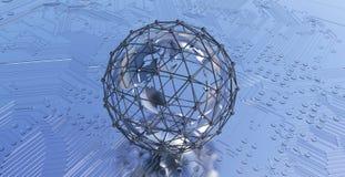 Globo de la tierra con la red de la conexión Tarjeta de circuitos impresos imagen de archivo