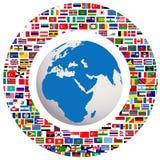 Globo de la tierra con todos los indicadores Imagen de archivo
