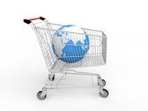 globo de la tierra 3d en carro de la compra stock de ilustración