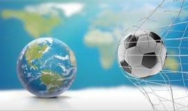 Globo de la tierra del planeta del mundo con la meta 3d-illustr del fútbol del balón de fútbol ilustración del vector