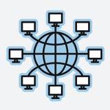 Globo de la tierra de las redes de ordenadores stock de ilustración