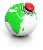 Globo de la tierra verde con el botón rojo de la alarma Imagen de archivo libre de regalías