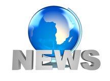 Globo de las noticias y de la tierra Fotos de archivo