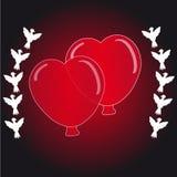 Globo de los corazones con las palomas de la mosca Imagenes de archivo