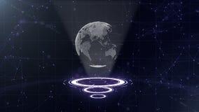 Globo de los datos de Digitaces - ejemplo abstracto de una tecnolog?a cient?fica Red de datos Tierra de alrededor del planeta en  ilustración del vector