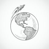 Globo de los iconos de los aviones Imágenes de archivo libres de regalías