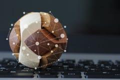 Globo de madeira da textura com diagrama social dos meios Imagem de Stock Royalty Free