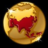 Globo de oro con marcado de los países de Asia ilustración del vector