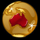 Globo de oro con marcado de los países de Australia Fotos de archivo