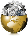 Globo de oro de la tierra con los engranajes del metal Imagenes de archivo