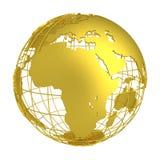 Globo de oro del planeta 3D de la tierra Fotos de archivo