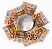 Globo de vidro com um foco em Europa e em África Fotografia de Stock Royalty Free