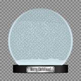 Globo de vidro da neve Bola realística do snowglobe com os flocos de neve do voo isolados no fundo transparente Vetor ilustração do vetor