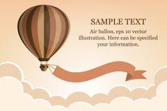 Globo del aire caliente con la cinta en el cielo con las nubes Tiempo de viaje Diseño plano de la historieta Imagen de archivo