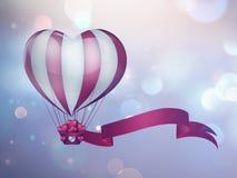 Globo del aire caliente del corazón Imágenes de archivo libres de regalías