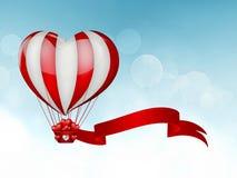 Globo del aire caliente del corazón Imagen de archivo libre de regalías
