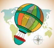 Globo del aire caliente que flota sobre mapa Fotografía de archivo libre de regalías