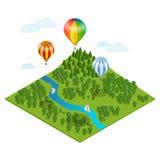Globo del aire caliente sobre el bosque, sobre las montañas y las nubes El aire caliente del ejemplo isométrico plano del vector  Fotografía de archivo libre de regalías