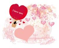 Globo del aire caliente - tarjeta de la tarjeta del día de San Valentín Fotos de archivo