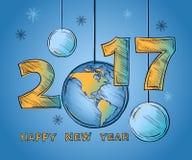 Globo 2017 del buon anno e palle di Natale Fotografia Stock