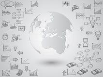 Globo del mapa del mundo con los iconos del web, los iconos del negocio y los iconos de la tecnología para la tecnología y el con libre illustration