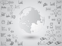 Globo del mapa del mundo con los iconos del web, los iconos del negocio y los iconos de la tecnología para la tecnología y el con stock de ilustración