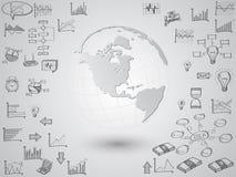Globo del mapa del mundo con los iconos del web, los iconos del negocio y los iconos de la tecnología para la tecnología y el con ilustración del vector