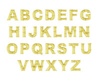 Globo del metal en un fondo blanco Alfabeto de oro Descuentos, ventas, días de fiesta, aniversarios Fotografía de archivo libre de regalías