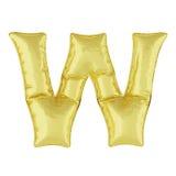 Globo del metal en un fondo blanco Letra de oro W Descuentos, ventas, días de fiesta, aniversarios Fotografía de archivo libre de regalías