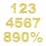 Globo del metal en un fondo blanco Número de oro Descuentos, ventas, días de fiesta, aniversarios Foto de archivo libre de regalías
