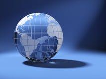 Globo del mondo di Cristal sull'azzurro Fotografia Stock