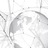 Globo del mondo su priorità bassa bianca Collegamenti di rete globale, progettazione geometrica astratta, concetto digitale di te Fotografia Stock Libera da Diritti