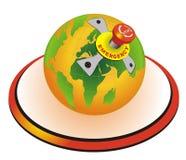 Globo del mundo con el botón de paro de emergencia Imágenes de archivo libres de regalías
