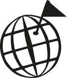 Globo del mundo de Geocaching con la bandera de la meta ilustración del vector