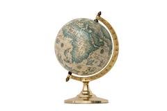 Globo del mundo del viejo estilo - aislado en blanco Fotos de archivo