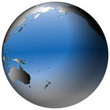 Globo del mundo: El Pacífico, con los océanos azul-sombreados Fotografía de archivo libre de regalías