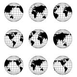 Globo del mundo en diversa posición Imágenes de archivo libres de regalías