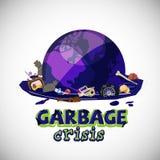 Globo del mundo en las aguas residuales con basura concepto de la crisis de la basura con el diseño tipográfico - ejemplo del vec stock de ilustración