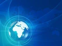 Globo del mundo en rayos y red Fotos de archivo