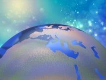 Globo del mundo y espacio estrellado Imagen de archivo libre de regalías