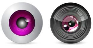 Globo del ojo con la lente de cámara Imagenes de archivo