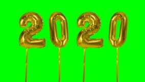 Globo del oro de la celebración del aniversario del cumpleaños de la transición de la Feliz Año Nuevo del número 2020 a partir de almacen de video
